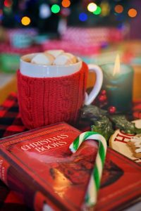 cup of hot chocolate and a book